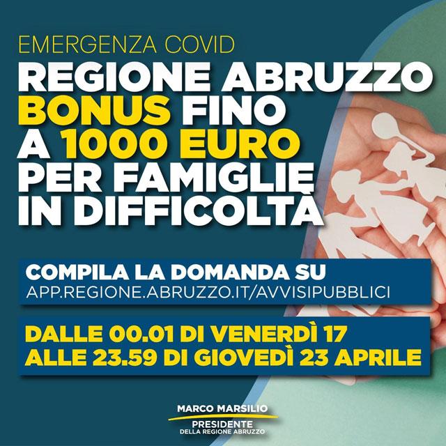 Regione Abruzzo: Bonus fino a 1000 euro per le Famiglie in difficolta'